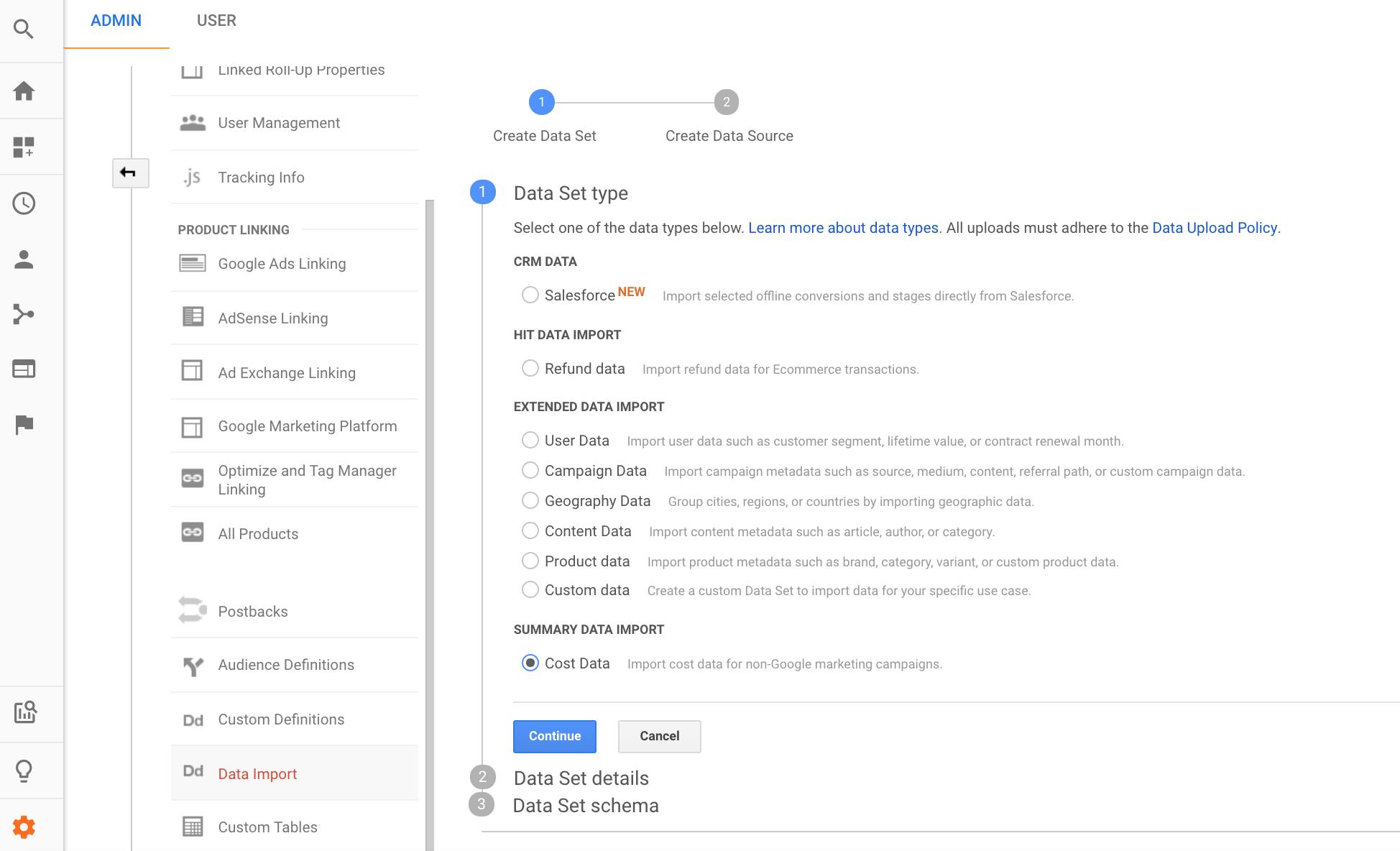 Google Analytics Cost Data Import