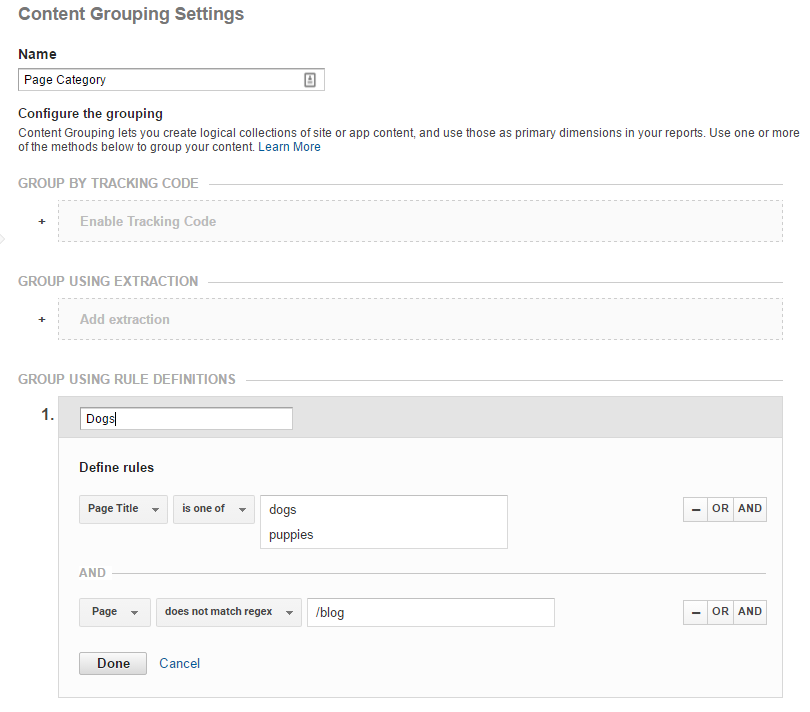 Google Analytics - Content Rules Editor