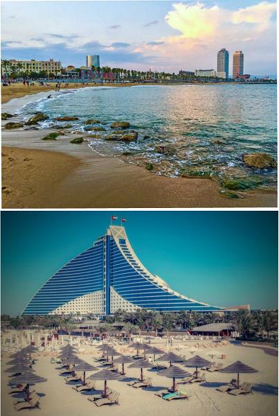 Barcelona and Dubai