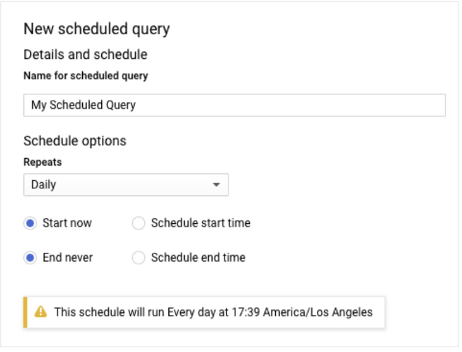 Scheduled queries Google Analytics