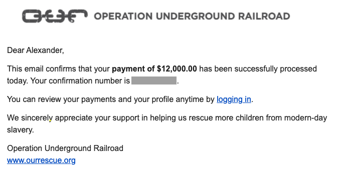 Operation Underground Railroad donation infotrust